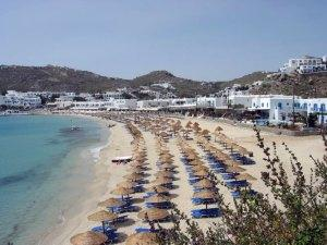 One of the many beaches around Mykonos