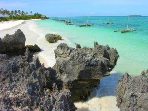 Rocks along Matemwe Beach in Zanzibar