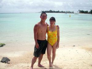 Couple on Pereybere Beach, Mauritius