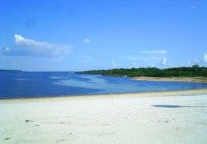 Beach on the Rio Negro river, near Manaus, Brazil
