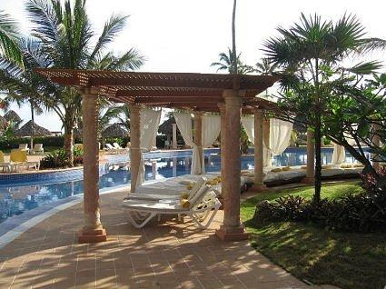 Grecian Style Beds that line the pool and beach at Excellence!