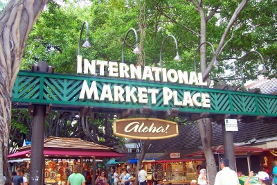 Entrance sign at the International Market Place, Waikiki, Oahu, Hawaii