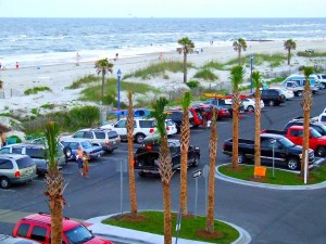Parking lot at Savannah's Tybee Island Beach